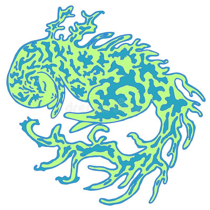 Forêt, imagination, verte dans un dragon de point illustration libre de droits