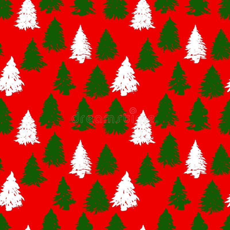 Forêt impeccable grunge verte et blanche sur le fond rouge arbre sans joint de configuration de Noël Illustration de vecteur illustration libre de droits