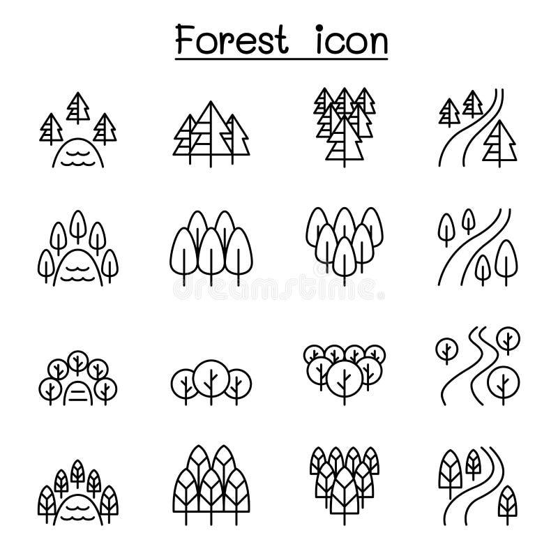 For?t, lac, rivi?re, parc, ensemble d'ic?ne de paysage dans la ligne style mince illustration stock