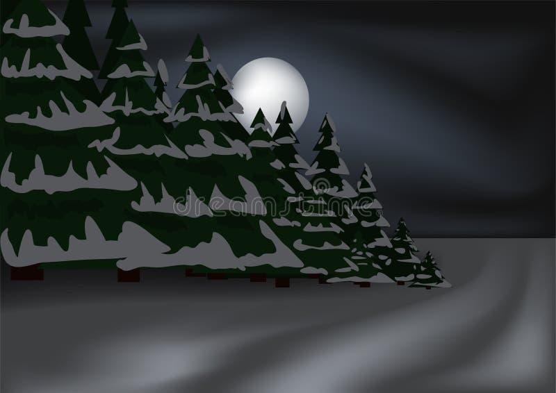 Forêt nocturne de l'hiver illustration stock