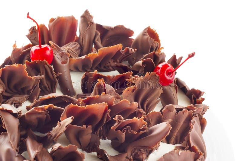 Forêt noire de gâteau de chocolat, d'isolement sur le blanc images libres de droits