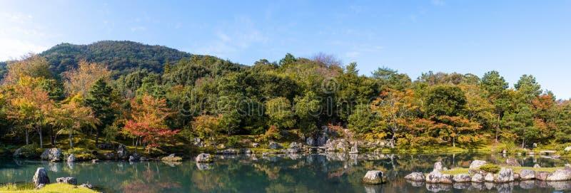 Forêt panoramique de changement de saison avec le lac en automne images stock