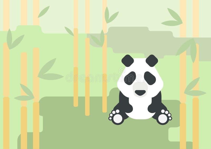 Forêt plate d'animal sauvage de vecteur de bande dessinée de conception d'ours panda illustration stock