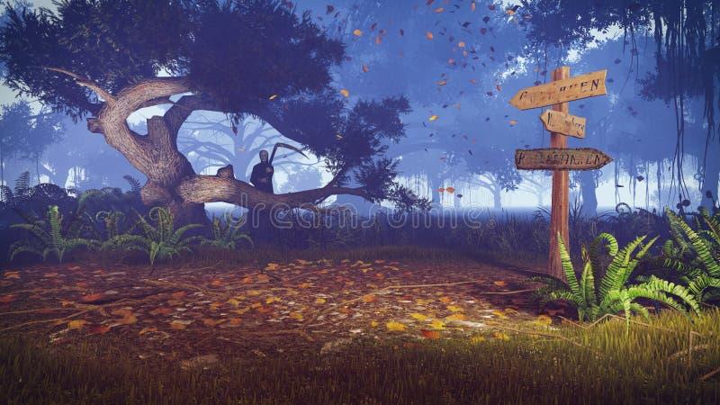 Forêt rampante avec le vieux poteau indicateur et faucheuse image stock