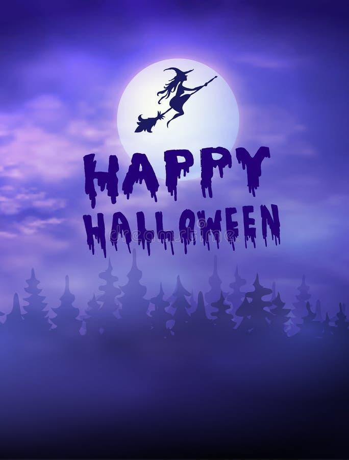 Forêt rampante de Halloween avec les battes et la pleine lune illustration libre de droits