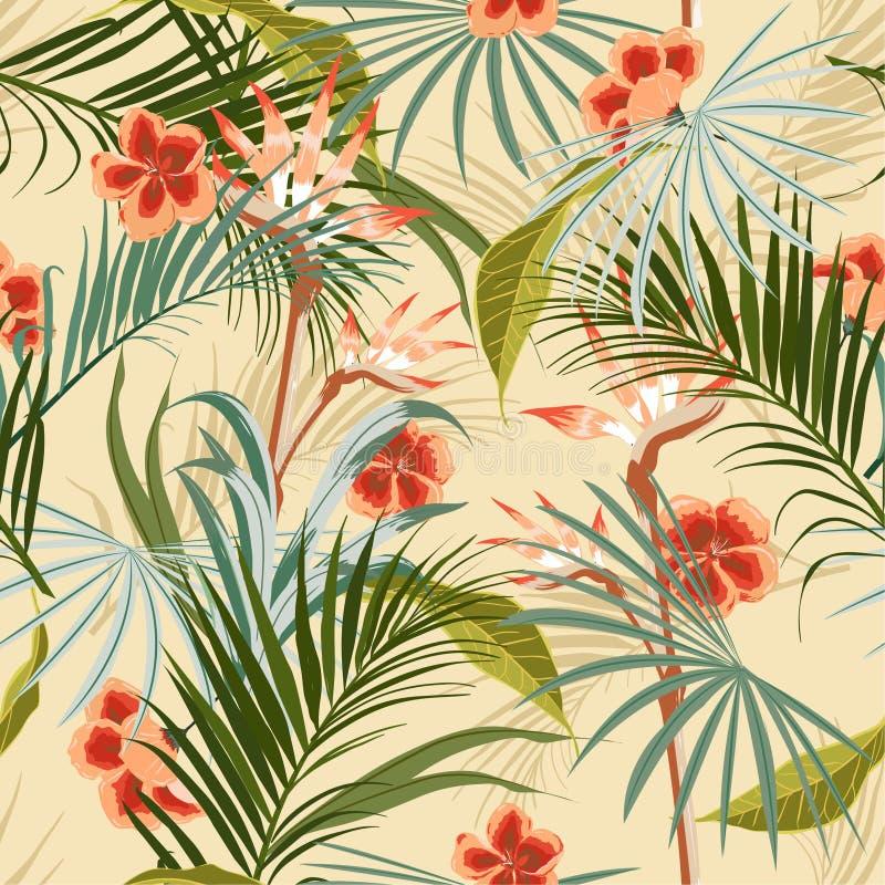 Forêt sauvage tropicale de rétro vintage exotique avec des palmiers, flowe illustration stock