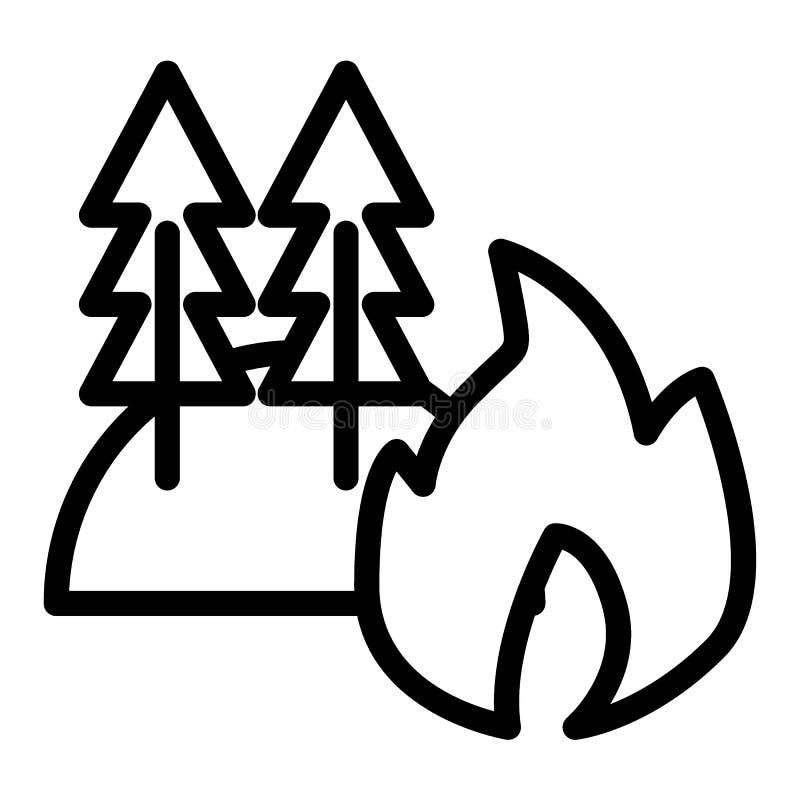 Forêt sur la ligne de feu icône Le feu dans l'illustration de vecteur de forêt d'isolement sur le blanc Les arbres brûlants décri illustration de vecteur