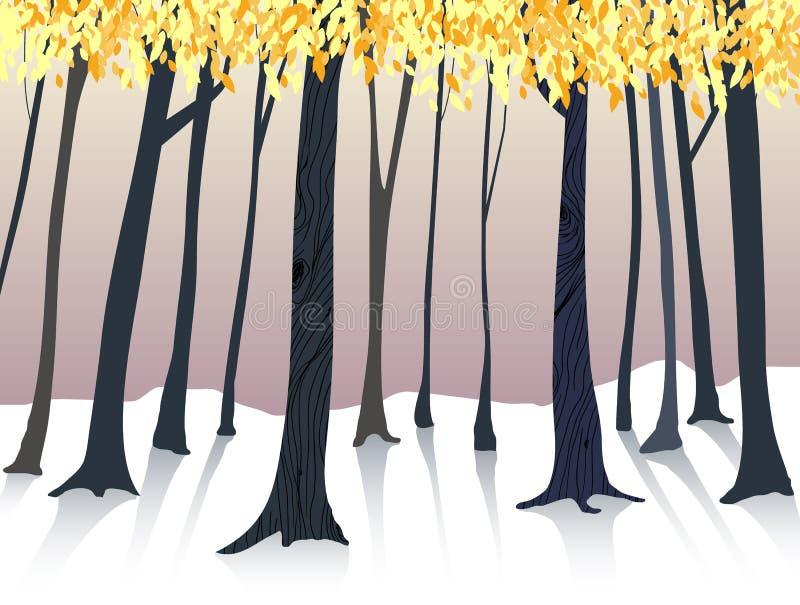Forêt tirée par la main dans la saison d'automne illustration stock