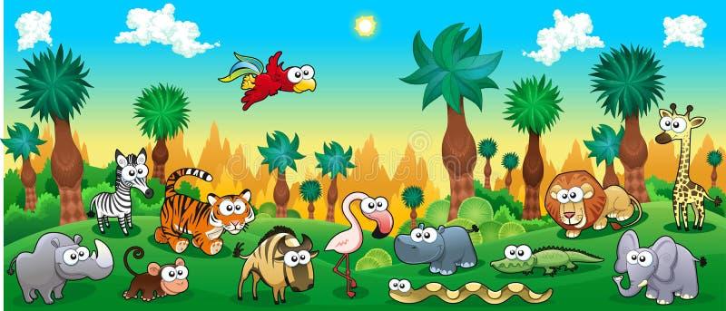 Forêt verte avec les animaux sauvages drôles illustration libre de droits
