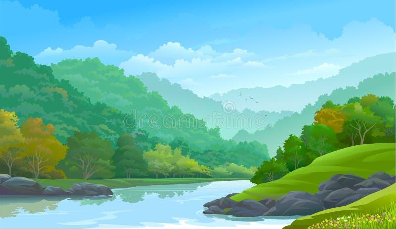 Forêt verte dense le long de côté une rivière et quelques roches illustration libre de droits
