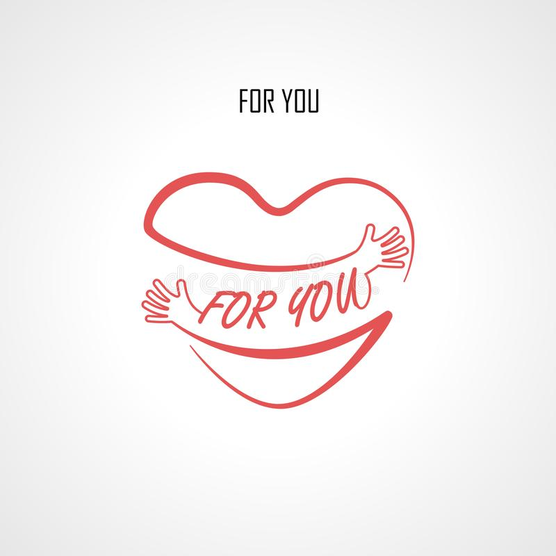 Free FOR YOU Typographical Design Elements And Red Heart Shape With Hand Embrace.Hugs And Love Yourself Sign.Health And Heart C Royalty Free Stock Photos - 108132388