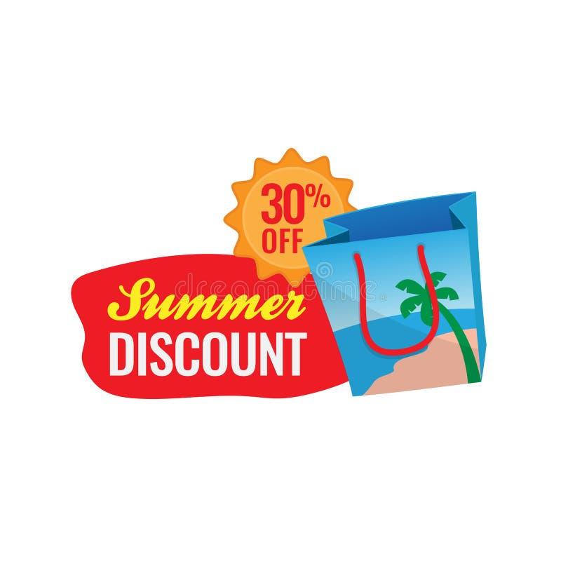 30% fora da ilustração do vetor do crachá do logotipo do desconto da venda do verão ?cone do saco de compras da praia com projeto ilustração stock