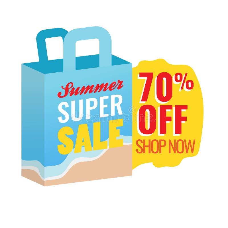 70% fora do ícone super do saco de compras da venda do verão com projeto do vetor da etiqueta do texto ilustração do vetor