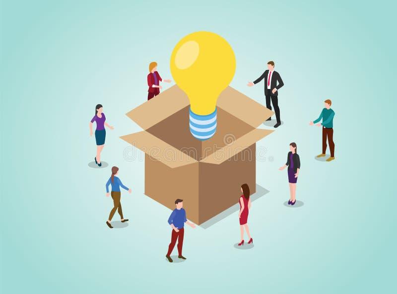 Fora do conceito de pensamento da caixa para a resolução de problemas com a ampola com povos da equipe e estilo isométrico - veto ilustração stock