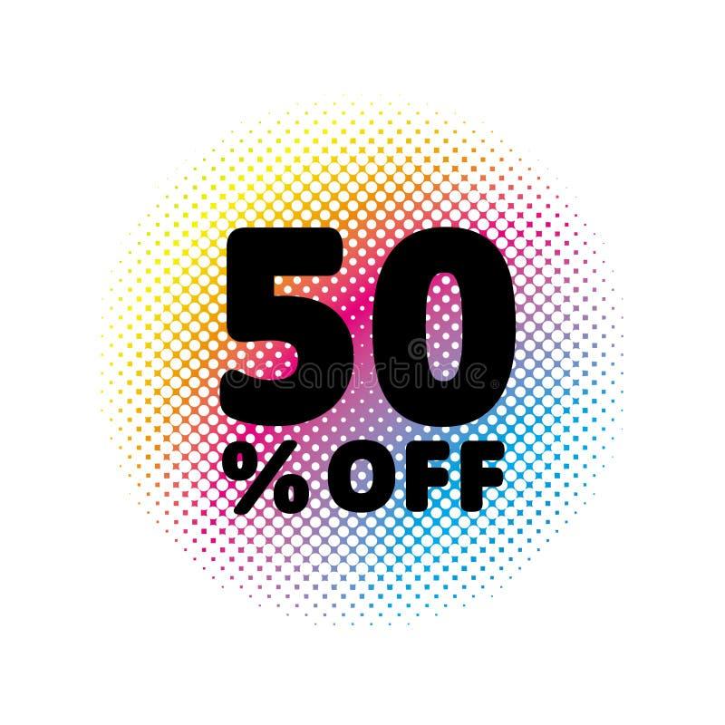 50% fora do disconto Símbolo do vetor da venda ilustração abstrata do vetor Círculo de intervalo mínimo do arco-íris feito dos po ilustração do vetor