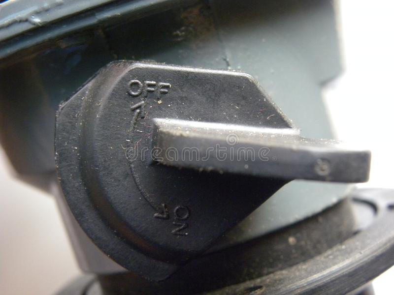 Fora do interruptor do regulador do cilindro de gás imagem de stock