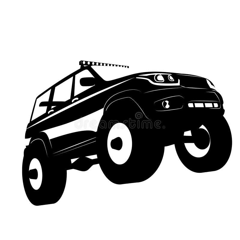 Fora do logotipo do carro do veículo de estrada, silhuette da ilustração do vetor ilustração stock