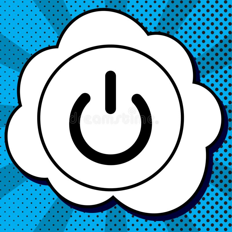 Fora do sinal do interruptor Vetor Ícone preto na bolha no pop art azul ilustração stock