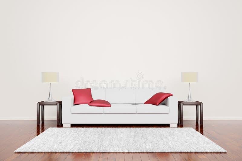 Fora do sofá branco com coxins vermelhos ilustração royalty free