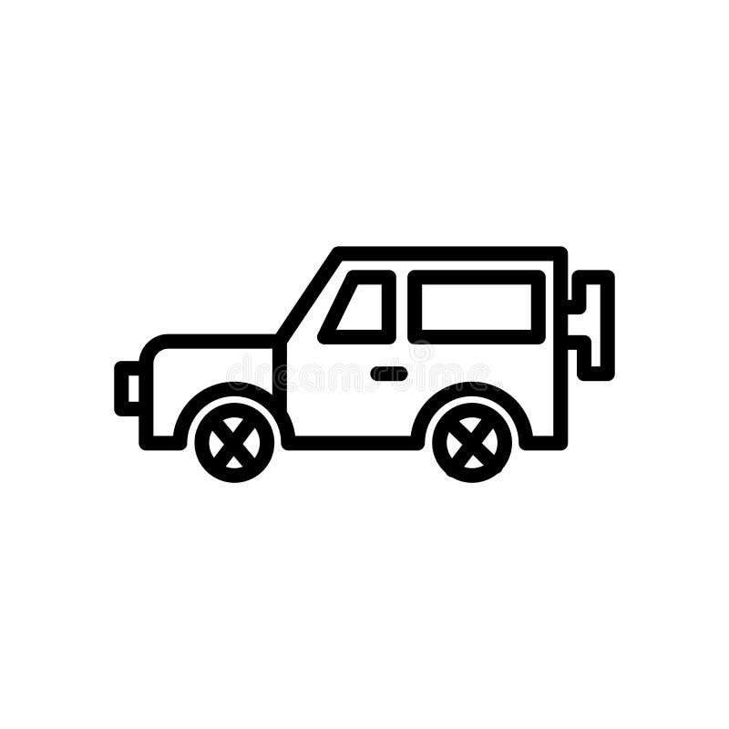 Fora do vetor do ícone da estrada isolado no fundo branco, fora do sinal de estrada, do símbolo linear e dos elementos do projeto ilustração stock