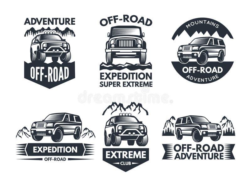 Fora dos símbolos da estrada Etiquetas com o caminhão 4x4 Logotipos ou etiquetas com carros do suv ilustração royalty free