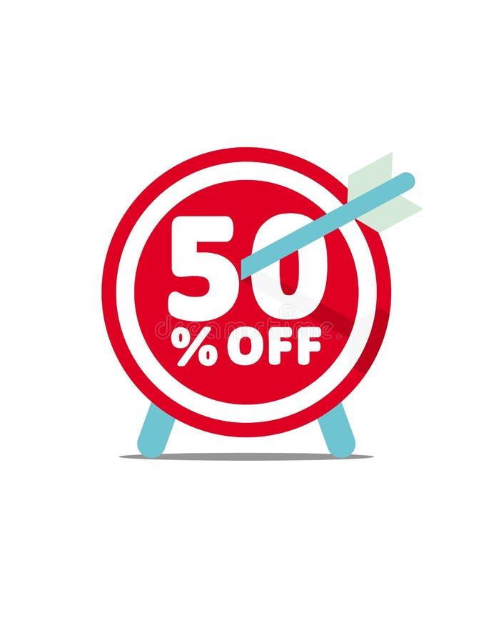 50% fora Gráfico de vetor do disconto Protetor abstrato dos dardos com seta ilustração royalty free
