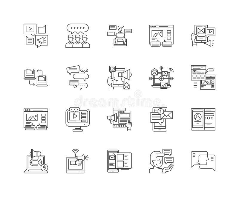 Fora och anslagstavlor fodrar symboler, tecken, vektoruppsättningen, översiktsillustrationbegrepp royaltyfri illustrationer