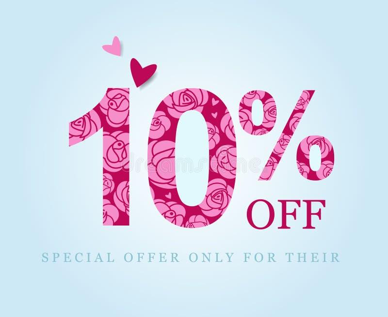 10 fora Um disconto de dez por cento Rosas cor-de-rosa ilustração stock