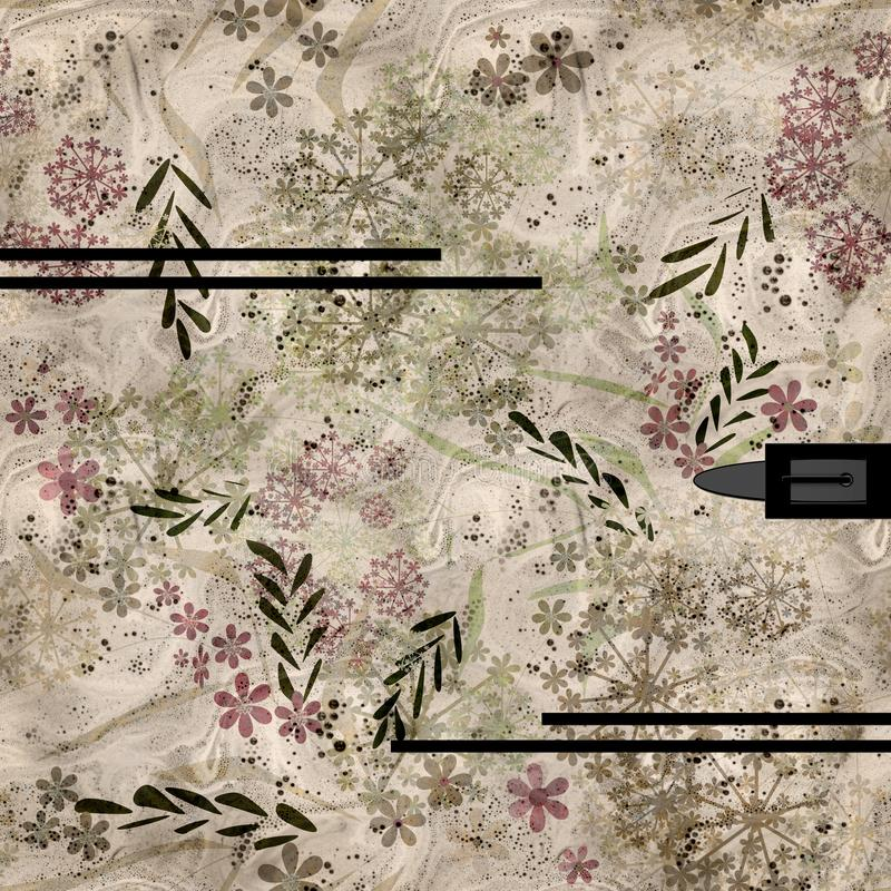 Foral μικρή λουλουδιών κάλυψη λευκωμάτων φύλλων εκλεκτής ποιότητας αναδρομική ελεύθερη απεικόνιση δικαιώματος