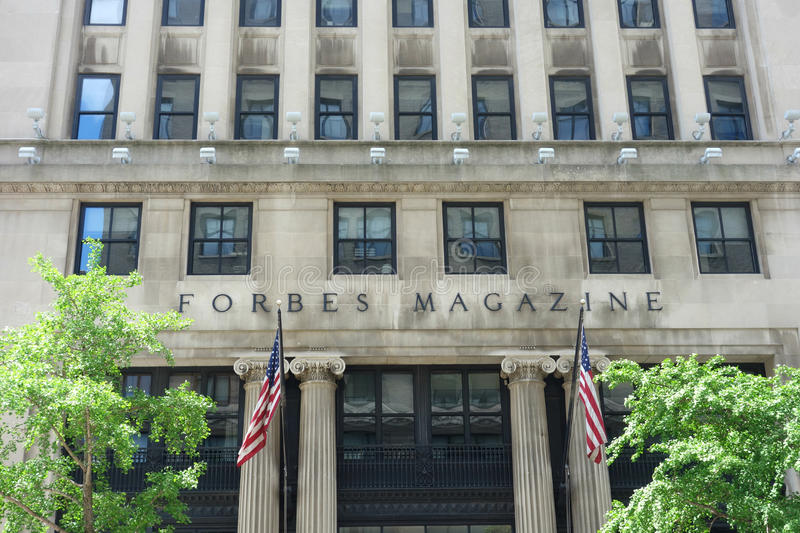 Forbes Magazine. The headquarters of Forbes Magazine, in downtown Manhattan stock image