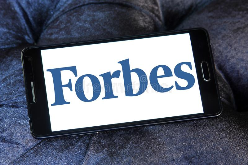 Forbes magazine logo. Logo of Forbes magazine on samsung mobile. Forbes is an American business magazine. it features original articles on finance, industry stock images