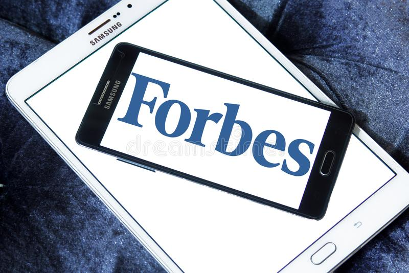 Forbes magazine logo. Logo of Forbes magazine on samsung mobile. Forbes is an American business magazine. it features original articles on finance, industry stock photos