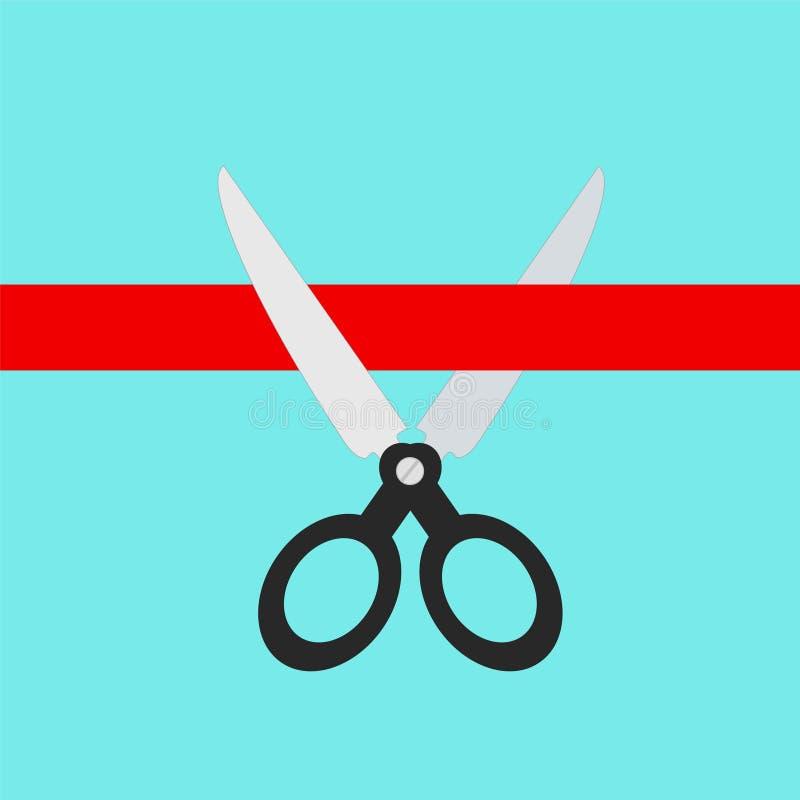 Forbici che tagliano concetto rosso del nastro, illustrazione di riserva di vettore illustrazione vettoriale