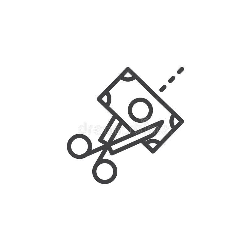Forbici che tagliano l'icona del profilo della fattura di soldi royalty illustrazione gratis