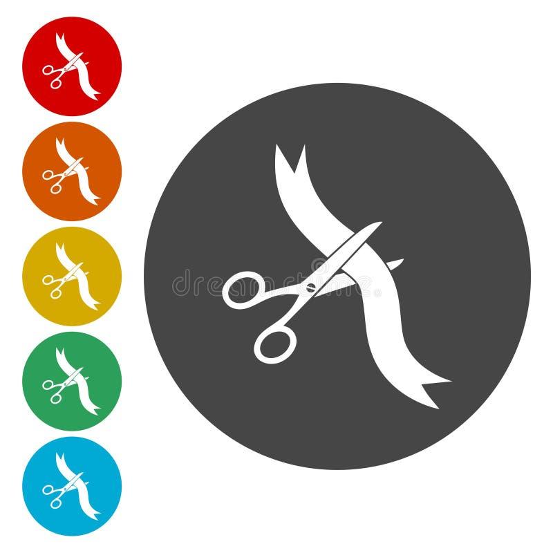 Forbici che tagliano l'icona di web del nastro illustrazione vettoriale