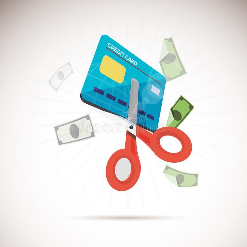 Forbici che tagliano la carta di credito illustrazione di stock