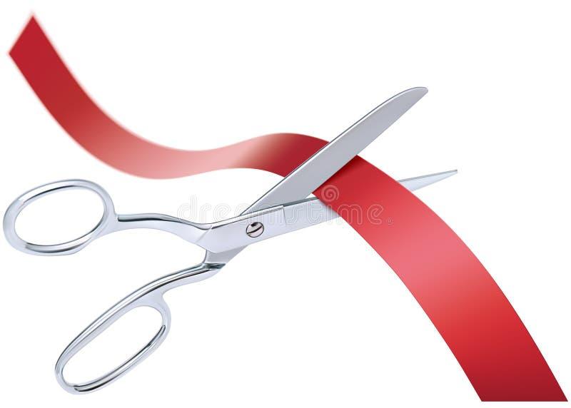 Forbici che tagliano nastro rosso, isolato illustrazione di stock
