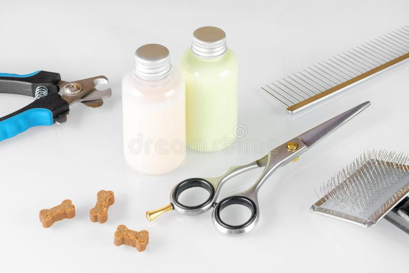Forbici con la spazzola ed il pettine per gli ossequi governare, dello sciampo e del cane fotografia stock