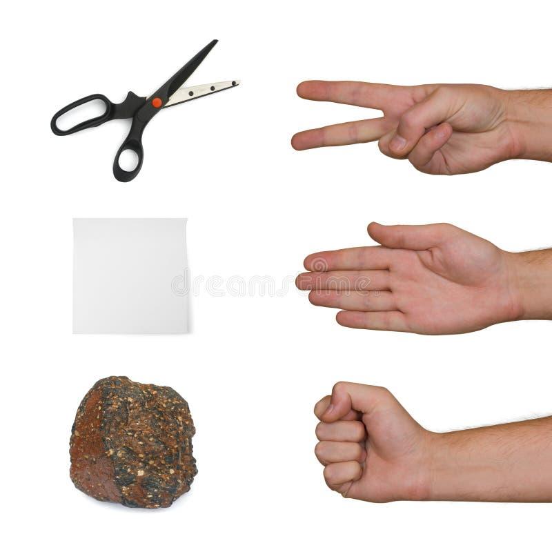 Forbici, documento, pietra immagine stock