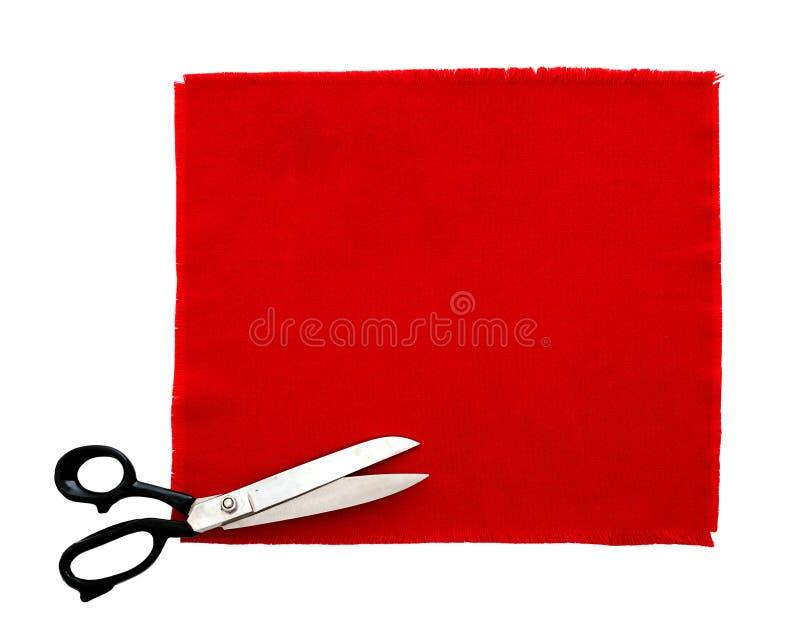 Forbici e campione del tessuto, isolato fotografia stock libera da diritti