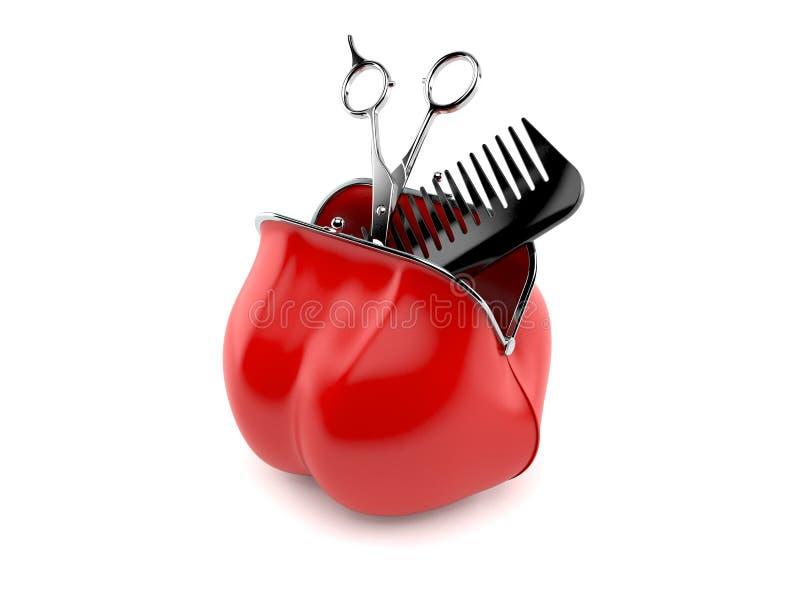 Forbici per barbiere all'interno di un borsellino rosso illustrazione vettoriale