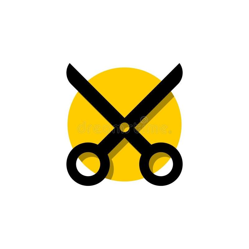 Forbici per il taglio dell'icona piana per i apps ed i siti Web illustrazione di stock