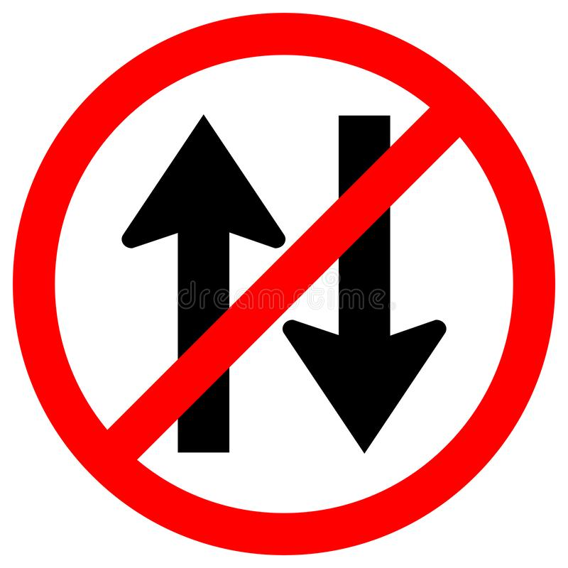 Forbid Two Way Traffic Road Sign Isolate On White Background,Vector Illustration EPS.10 royalty free illustration