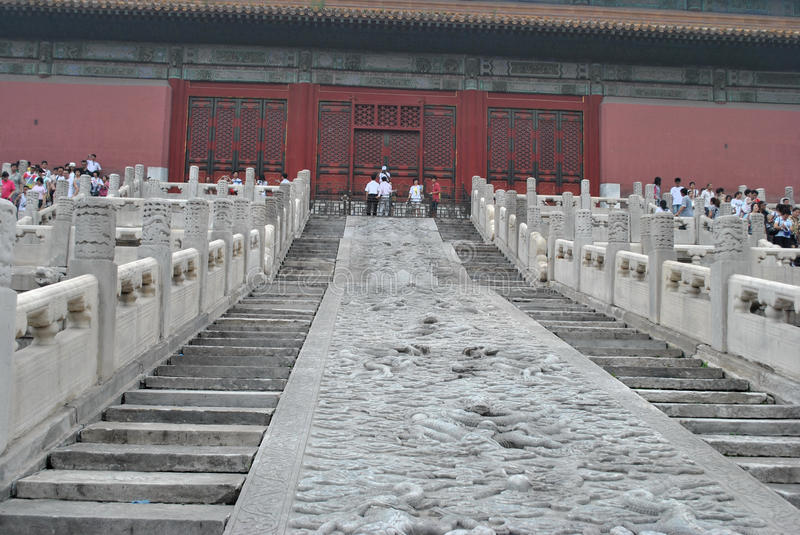 Forbidden city. Image taken back by the lower part of the stairway that allows the entry the city honesty vector illustration