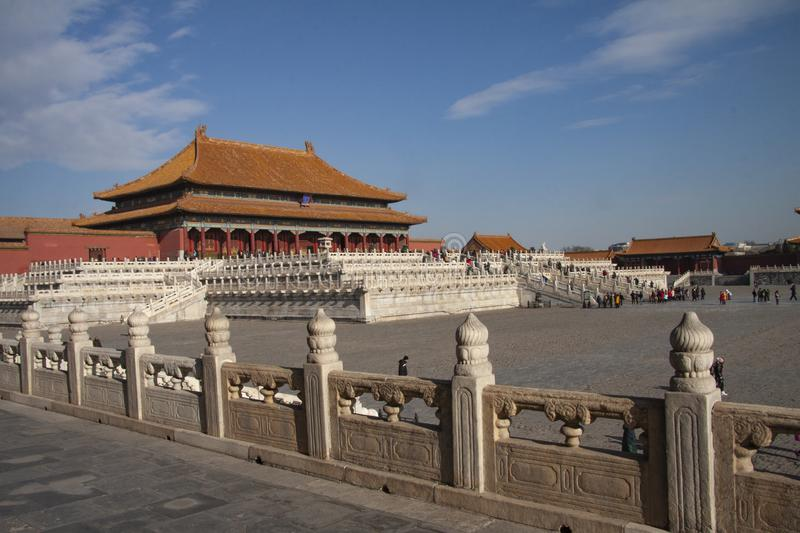 The forbidden city in Beijing, China. Chinese imperial palace from the Ming Dynasty. View over the Harmony Square with the Hall of. Supreme Harmony in stock images