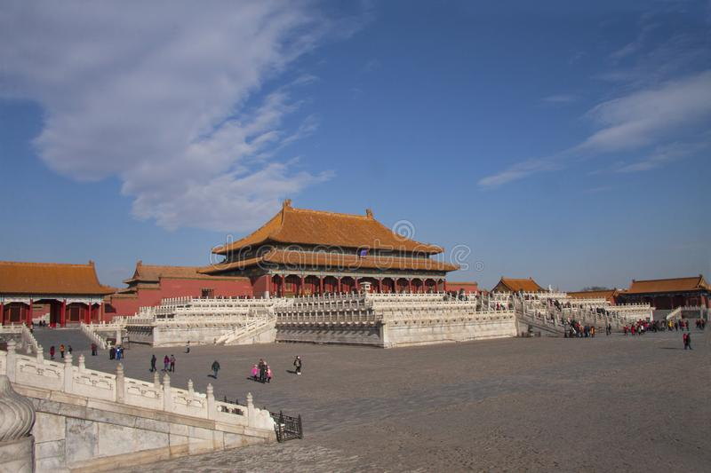 The forbidden city in Beijing, China. Chinese imperial palace from the Ming Dynasty. View over the Harmony Square with the Hall of. Supreme Harmony in stock photography