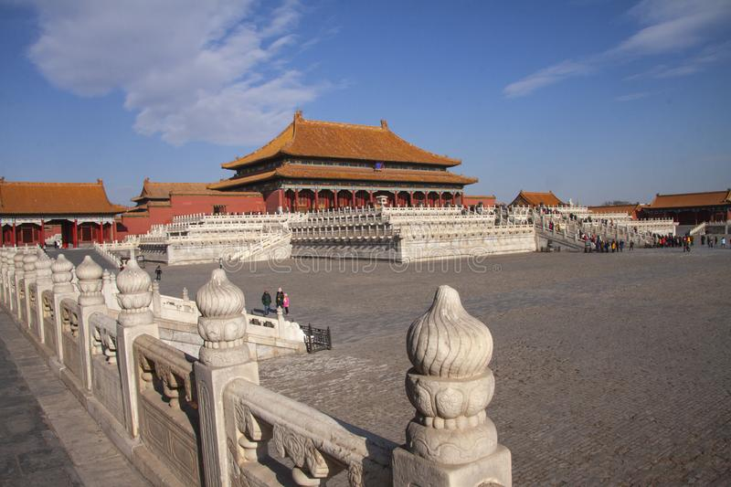 The forbidden city in Beijing, China. Chinese imperial palace from the Ming Dynasty. View over the Harmony Square with the Hall of. Supreme Harmony in stock photo