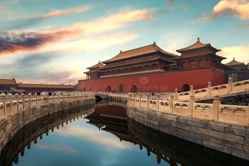 Forbidden City in Beijing ,China. Forbidden City is a palace com. Plex and famous destination in central Beijing, China royalty free stock images