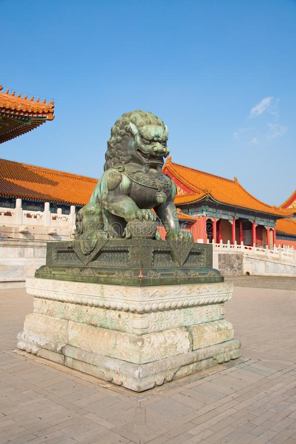 The Forbidden City. BEIJING, CHINA - OCTOBER 14, 2017: The Forbidden City (Palace museum), the Chinese imperial palace from the Ming dynasty to the end of the stock photo