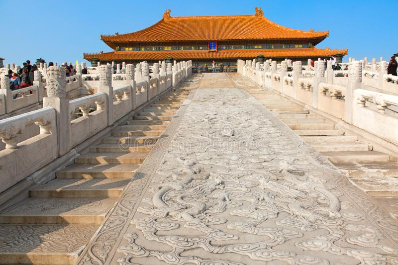 The Forbidden City. BEIJING, CHINA - OCTOBER 14, 2017: The Forbidden City (Palace museum), the Chinese imperial palace from the Ming dynasty to the end of the royalty free stock photography